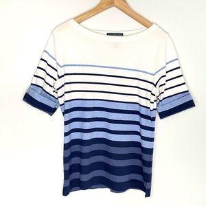 Karen Scott Blue & White Striped Blouse Size Large
